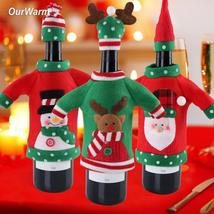 New Year Decoration Red Wine Bottle Cover Office Ugly Sweater Party Prod... - $3.44+