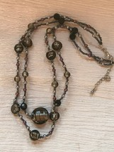 Estate Premier Designs Double Strand Smokey Gray Fused Glass & Tiny Ligh... - $13.99