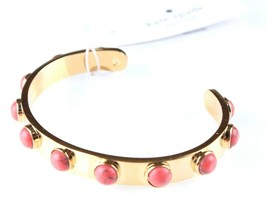 $58 Kate Spade Tag Along Gold Tone w Orange Stones Cuff Bracelet