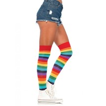 Sexy Rainbow Stripe Thigh High Stockings Halloween Costume Hosiery LA-6606 - $10.95
