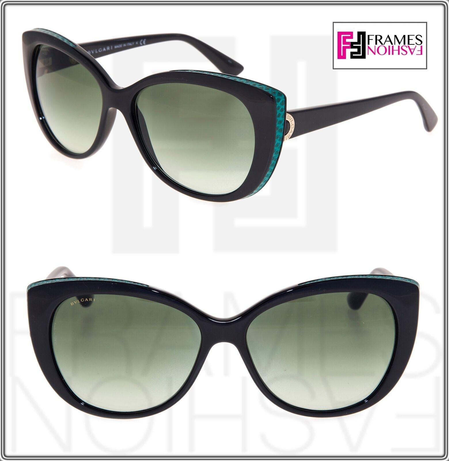 BVLGARI LOGO BV8169Q Black Green Leather Gradient Cat Eye Sunglasses Gold 8169