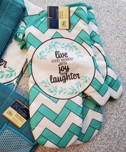 Kitchen Set 11pc Towels Dishcloths Mitts Placemats, Live Joy Laughter, Turquoise image 4