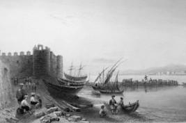 SYRIA  Tartus Ancient Tortosa & Island of Arwad - 1839 Engraving Print - $16.83