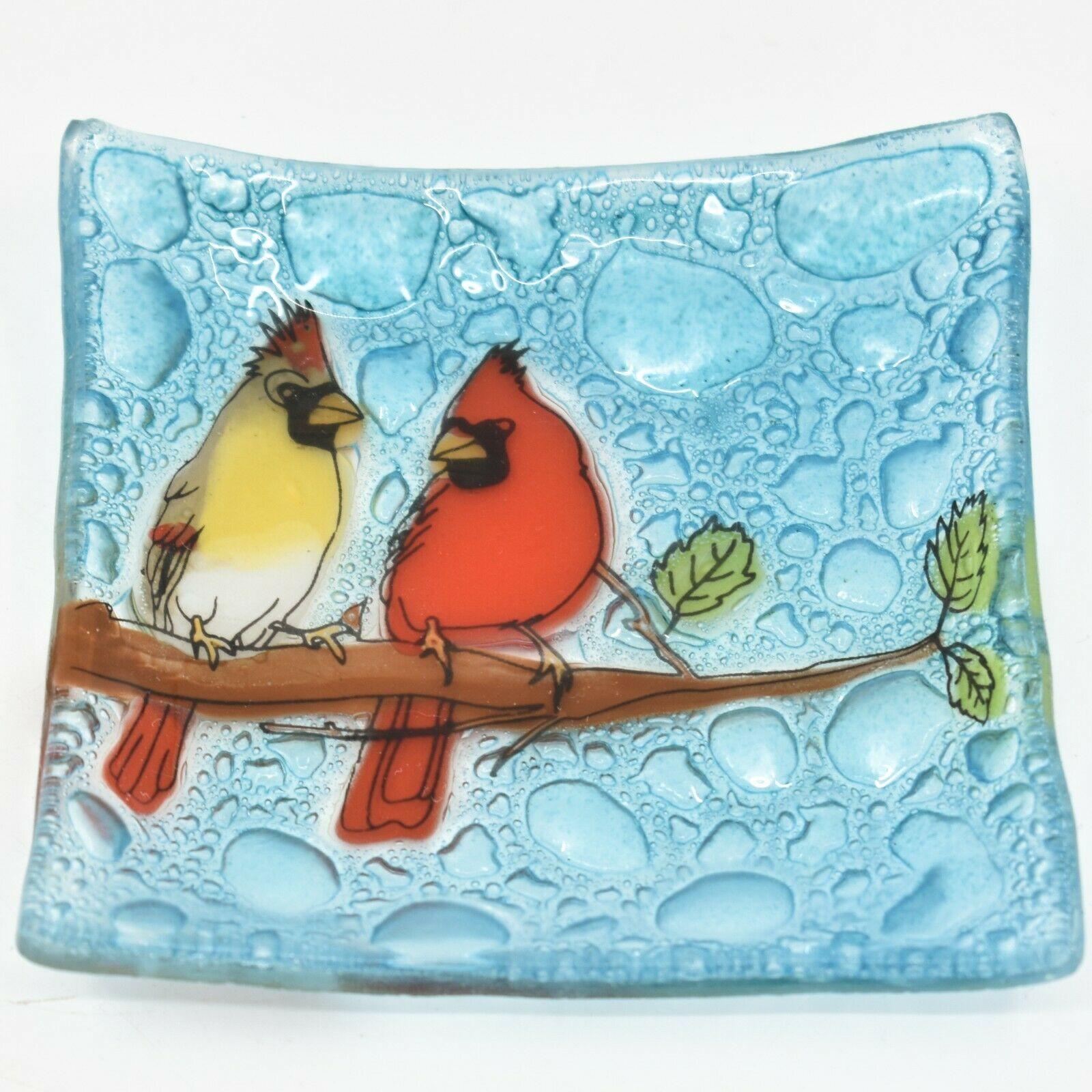 Fused Art Glass Cardinal Couple Bird Design Square Soap Dish Handmade Ecuador