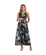 Maternity Slip Dress Sleeveless Floral Printed V Neck Dress - $34.99