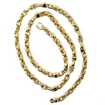 """18K YELLOW WHITE GOLD CHAIN SAILOR'S NAVY MARINER LINK BIG OVAL 5 MM, 24"""" image 5"""