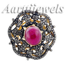 Victorian 2.88ct Rose Cut Diamond Ruby Superb Colorful Engagement Cute Ring - $422.62