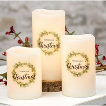 Farmhouse Christmas LED Pillar Candle Flameless Centerpiece Floral arran... - $19.60+