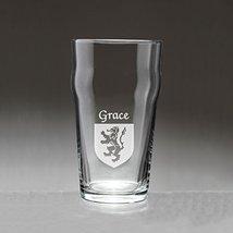 Grace Irish Coat of Arms Pub Glasses - Set of 4 (Sand Etched) - $56.79