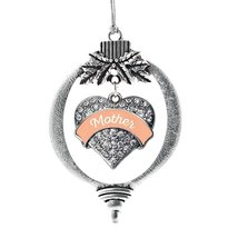 Inspired Silver Peach Mother Pave Heart Holiday Christmas Tree Ornament ... - $14.69
