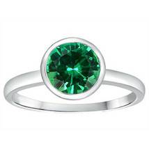 1.56CT WOMENS UNIQUE 14K WG SOLITAIRE SETTING EMERALD ENGAGEMENT RING SI... - $296.01