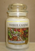 Yankee Candle Mistletoe Fig 22 Oz Large Jar White Label Housewarmer Scen... - $32.00