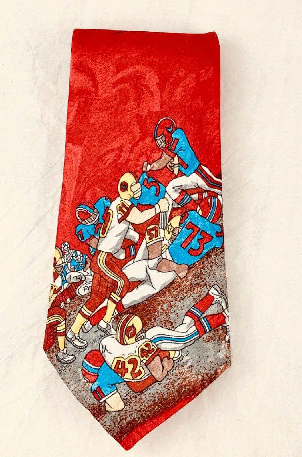 Primary image for Vintage Gloria Hand Made FOOTBALL PLAYERS Multicolor Necktie