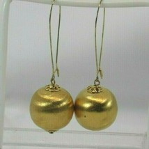 VINTAGE Gold Tone Ball Style Dangle Pierced Earrings 32771 - $17.81