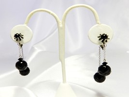 VINTAGE SWINGING FACETED BLACK JET GLASS DOUBLE-DANGLE CLIP EARRINGS - $19.79