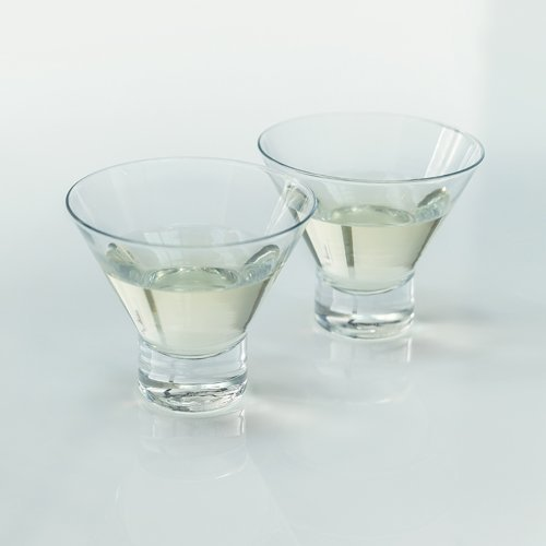Martini Glass, Raye Crystal Modern Stemless Small Glass Martini Set, Set Of 2