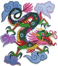 "Custom Colorful Asian Dragon Embroidery Iron On/Sew patch [6.74"" x 7.8""]... - $21.77"