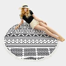 Round Beach Towel Black & White Geometric Print Poncho with Tassel Trim ... - $31.01 CAD