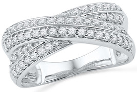 10kt White Gold Womens Round Diamond Band Crossover Ring 1/2 Cttw - £372.20 GBP