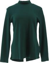 Isaac Mizrahi Essentials Hi-Low Hem Knit Top Dark Emerald S NEW A345748 - $25.72