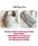 MICHAEL KORS LEATHER PEARL GREY FULTON LARGE HOBO SHOULDER BAG OR WALLET... - $69.18+