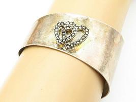 925 Sterling Silver - Vintage Marcasite Double Love Heart Cuff Bracelet ... - $89.91