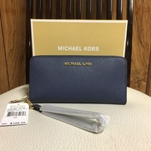 Michael Kors Jet Set Travel Large Wallet Wristlet Saffiano Leather Navy ... - $99.00