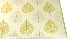 Slub Effect Green Silver Embroidered Leaf Leaves Fabric Material *2 Sizes* - $8.34+