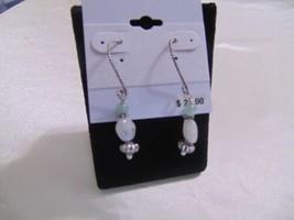 "Macys 2"" Antiqued Silver Tone Green/White Beaded Dangle Drop earrings Em420 - $8.16"