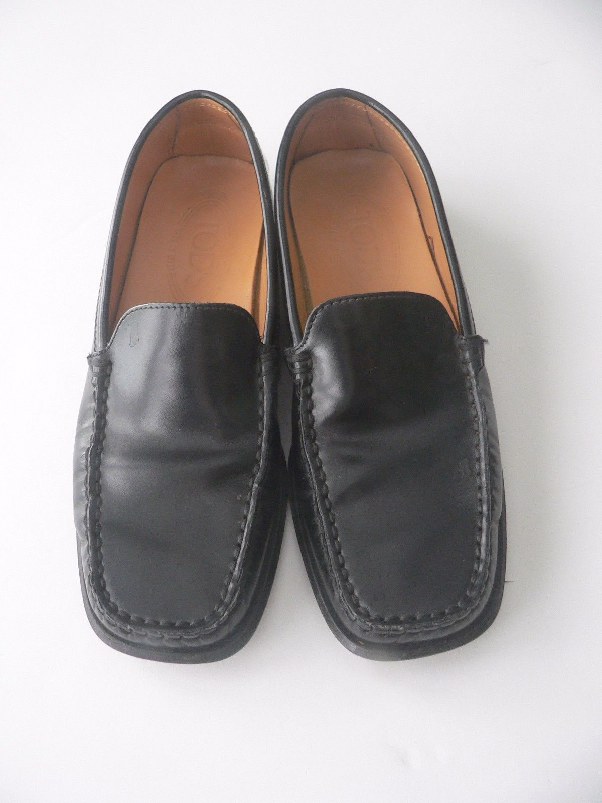 Primary image for TOD'S 5.5 loafers black leather driving shoes Italy flat sleek patent penny