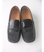 TOD'S 5.5 loafers black leather driving shoes Italy flat sleek patent penny - $72.74