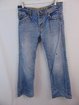 Express Men's 34X29 Rocco Blue Jeans Light Wash Button Fly Boot Cut Slim... - $12.19