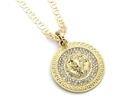 "Mens Medallion Patern Lion Gold Plated 24"" Gucci Chain Pendant Necklace - $13.85"