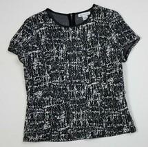 Liz Claiborne L Peplum Top Shirt Tweed Black White SS Fit Flare Large Ca... - $19.99
