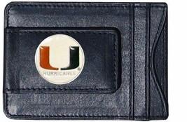 miami hurricanes logo ncaa college emblem leather cash & cardholder usa made - $27.07