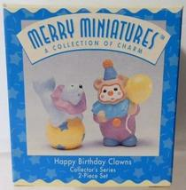 Set of 2 Happy Birthday Clown Hallmark Merry Miniatures - $4.46