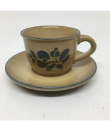 Pfaltzgraff Folk Art Tan & Blue Cup & Saucer #001 - $9.49