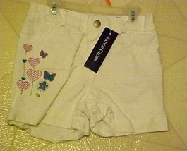 Girls Size 4T White Shorts Denim Embroideed Hearts Butterflies New - $7.43