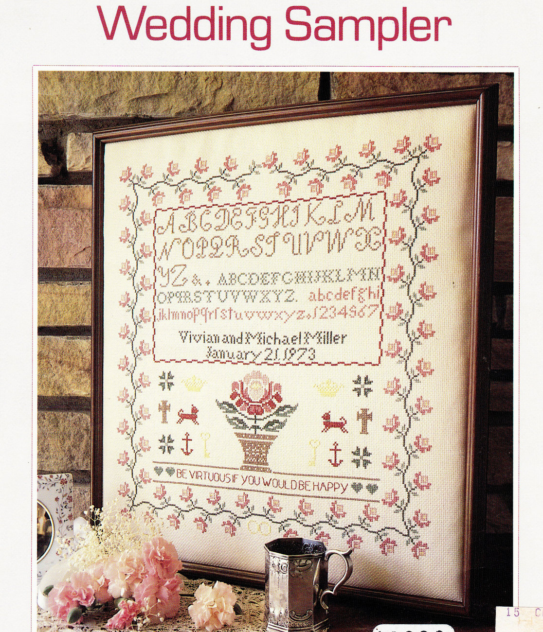 COUNTED CROSS STITCH WEDDING SAMPLER