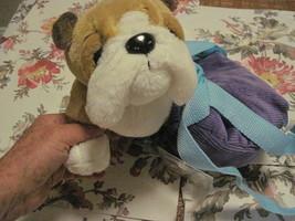 Webkinz Plush Pet Bull Dog in Backpack Purple Carrier Backpack SEALED Co... - $10.40