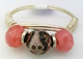 Rhodochrosite Gemstone Bead Silver Wire Wrap Ring sz.9 - $12.27