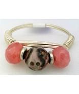 Rhodochrosite Gemstone Bead Silver Wire Wrap Ring sz.9 - $10.08