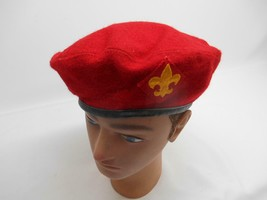 Old Vtg Boy Scouts Of America 100% Wool Red Beret Bsa Patch Official Headwear - $49.49