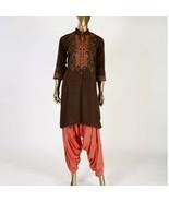 Brown medium pakistani kurta with Thread Embroidery - $39.60