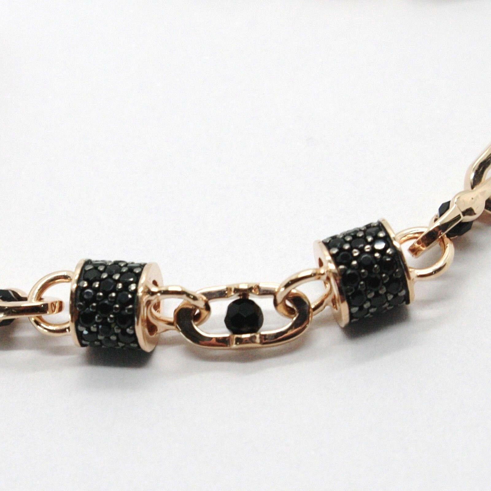 Armband Gold Pink 18K 750, Röhren mit Zirkonia Schwarze und Ovale Abwechselnde, image 4