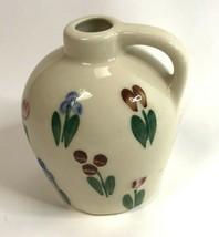 Vintage Vase Pitcher Small Jug Stoneware Painted Flowers Floral   - $9.89
