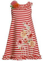 Bonnie Jean Little Girl 4-6X Striped Knit Sequin Rose Screen Print A-line Dress