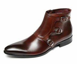 Handmade Men's Brown High Ankle Zipper Triple Monk Strap Leather Boots image 4