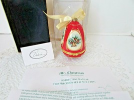 """Mr.Christmas Musical Glass Ornament Trinket Box By Valerie Red Bells 4.25""""H Mib - $14.80"""