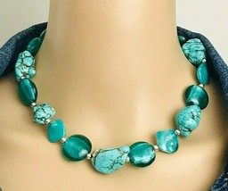 Vintage Abalone Shell Turquoise Nugget Glass Foil Bead Choker Necklace - $21.78